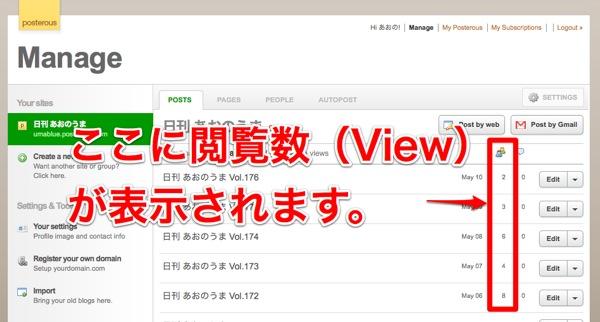 Manage画面でView数がチェックできる。
