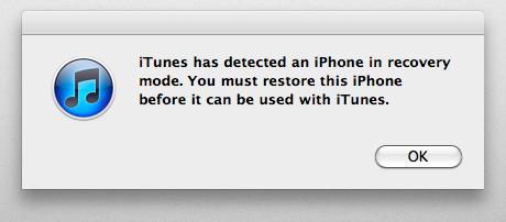 iTunesが起動して、リカバリモードの開始。