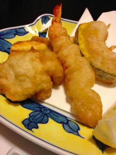 揚げ物(天ぷら:海老、鱧、南瓜、茄子、薩摩芋)